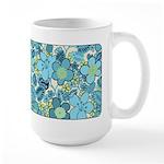 Blue Hippie Flower Art Large Mug (15 oz)