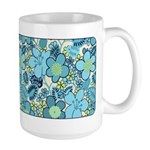 Blue Hippie Flower Art Large Mug (15 oz)