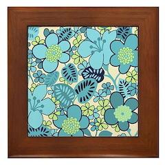 Blue Hippie Flower Art Framed Tile