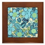 Blue Hippie Flower Art Framed Tile