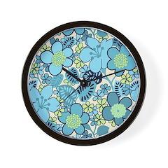 Blue Hippie Flower Art Wall Clock