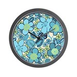 Blue Hippie Flower Art Wall Clock