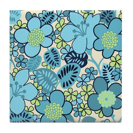 Blue Hippie Flower Art Tile Drink Coaster