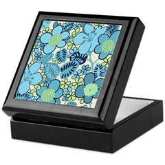 Blue Hippie Flower Art Keepsake Box