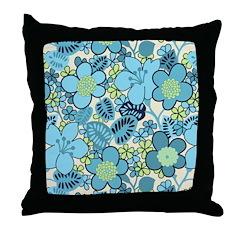 Blue Hippie Flower Art Throw Pillow