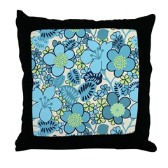 Blue Hippie Flower Art Throw Pillow