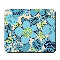 Blue Hippie Flower Art Mousepad