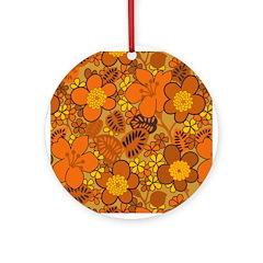 Floral 1960s Hippie Art Ornament (Round)