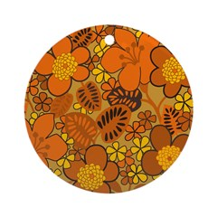 Floral 1960s Hippie Art Ornament (Round)