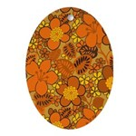 Floral 1960s Hippie Art Oval Ornament