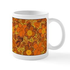 Floral 1960s Hippie Art Ceramic Coffee Mug