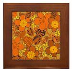 Floral 1960s Hippie Art Framed Tile