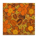 Floral 1960s Hippie Art Tile Drink Coaster