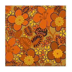 Floral 1960s Hippie Art Tile Drink Coaster