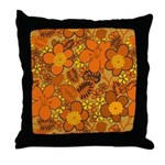 Floral 1960s Hippie Art Throw Pillow