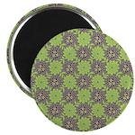"Retro Floral Print 2.25"" Magnet (10 pack)"