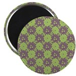 "Retro Floral Print 2.25"" Magnet (100 pack)"