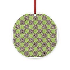 Retro Floral Print Ornament (Round)