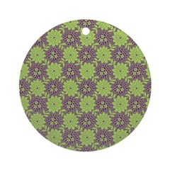 Retro Floral Print Ornament (Round)