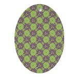 Retro Floral Print Oval Ornament