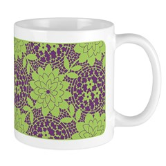 Retro Floral Print Ceramic Coffee Mug