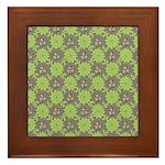 Retro Floral Print Framed Tile