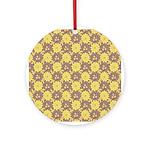 Mod Retro Floral Print Ornament (Round)
