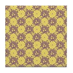 Mod Retro Floral Print Tile Drink Coaster
