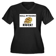 Ball Pythons Rock! Women's Plus Size V-Neck Dark T