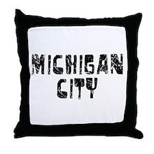 Michigan City Faded (Black) Throw Pillow