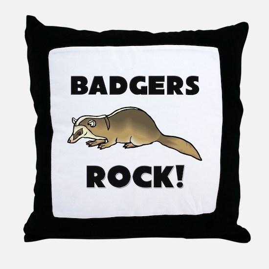 Badgers Rock! Throw Pillow