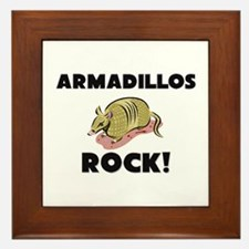 Armadillos Rock! Framed Tile
