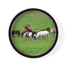 Mini Horses in Pasture Wall Clock