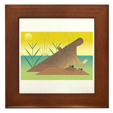 Hippos Framed Tile