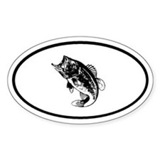 Bass Fishing fisherman Oval Decal