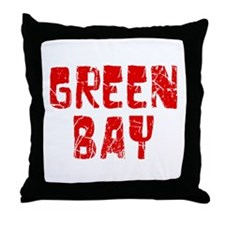 Green Bay Faded (Red) Throw Pillow