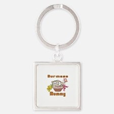 Burmese Cat Designs Square Keychain