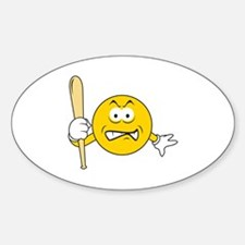 Mad Smiley Face With Baseball Bat Oval Decal