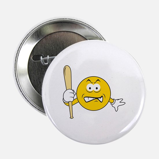 """Mad Smiley Face With Baseball Bat 2.25"""" Button"""