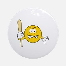 Mad Smiley Face With Baseball Bat Ornament (Round)
