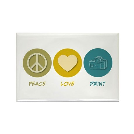 Peace Love Print Rectangle Magnet (10 pack)
