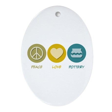 Peace Love Pottery Oval Ornament