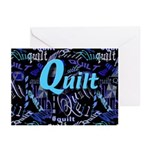 Quilt Blue Dark Greeting Cards (Pk of 20)