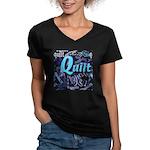 Quilt Blue Women's V-Neck Dark T-Shirt