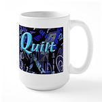 Quilt Blue Dark Large Mug