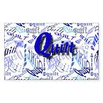 Quilt Blue Rectangle Sticker 50 pk)
