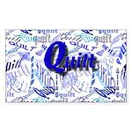 Quilt Blue Rectangle Sticker