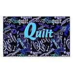 Quilt Blue Dark Rectangle Sticker 10 pk)
