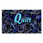 Quilt Blue Dark Rectangle Sticker