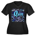 Quilt Blue Women's Plus Size V-Neck Dark T-Shirt
